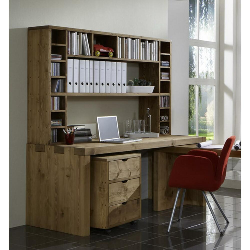 schreibtisch arbeitszimmer pc tisch b ro m bel komplett massiv holz kiefer antik ebay. Black Bedroom Furniture Sets. Home Design Ideas