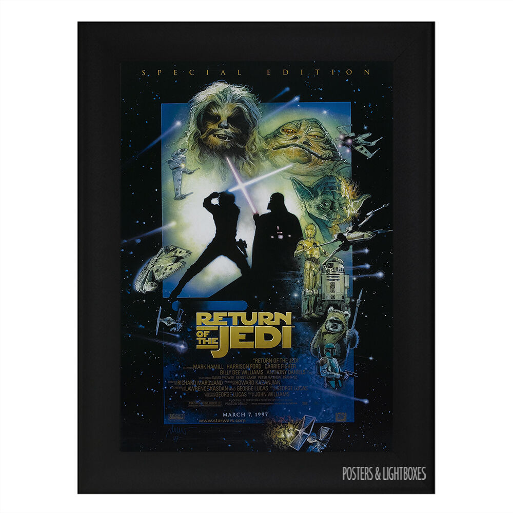 STAR WARS RETURN OF THE JEDI Ref 03 Framed Film Movie Poster A4 Black ...