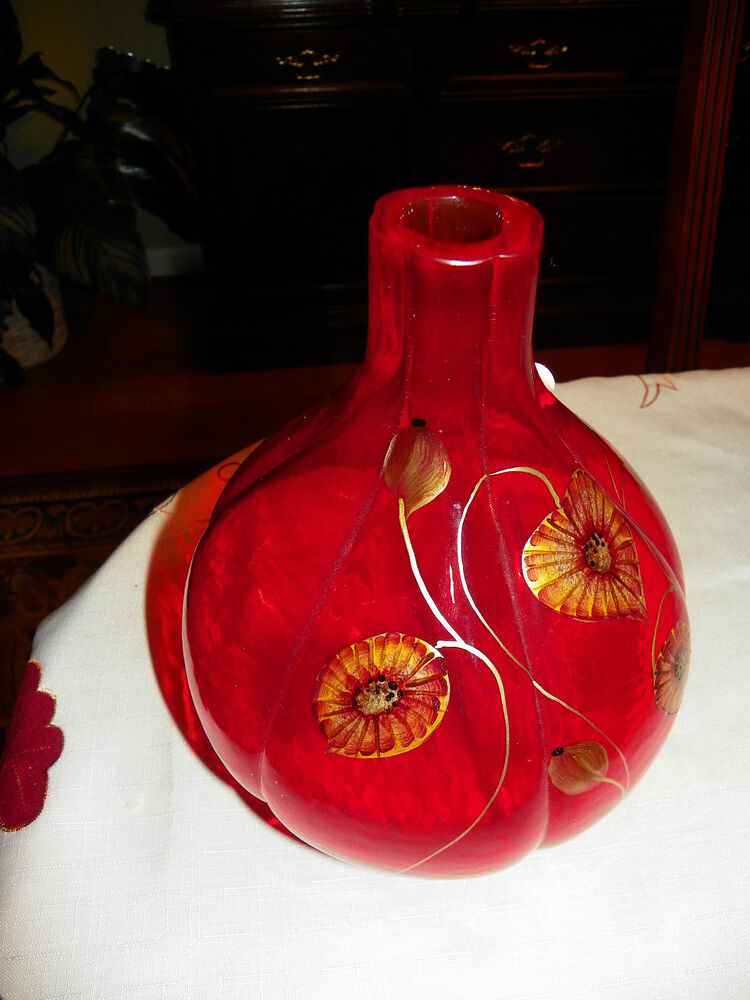 Fenton Art Glass Red Vase No 4737 4f Hand Painted By D