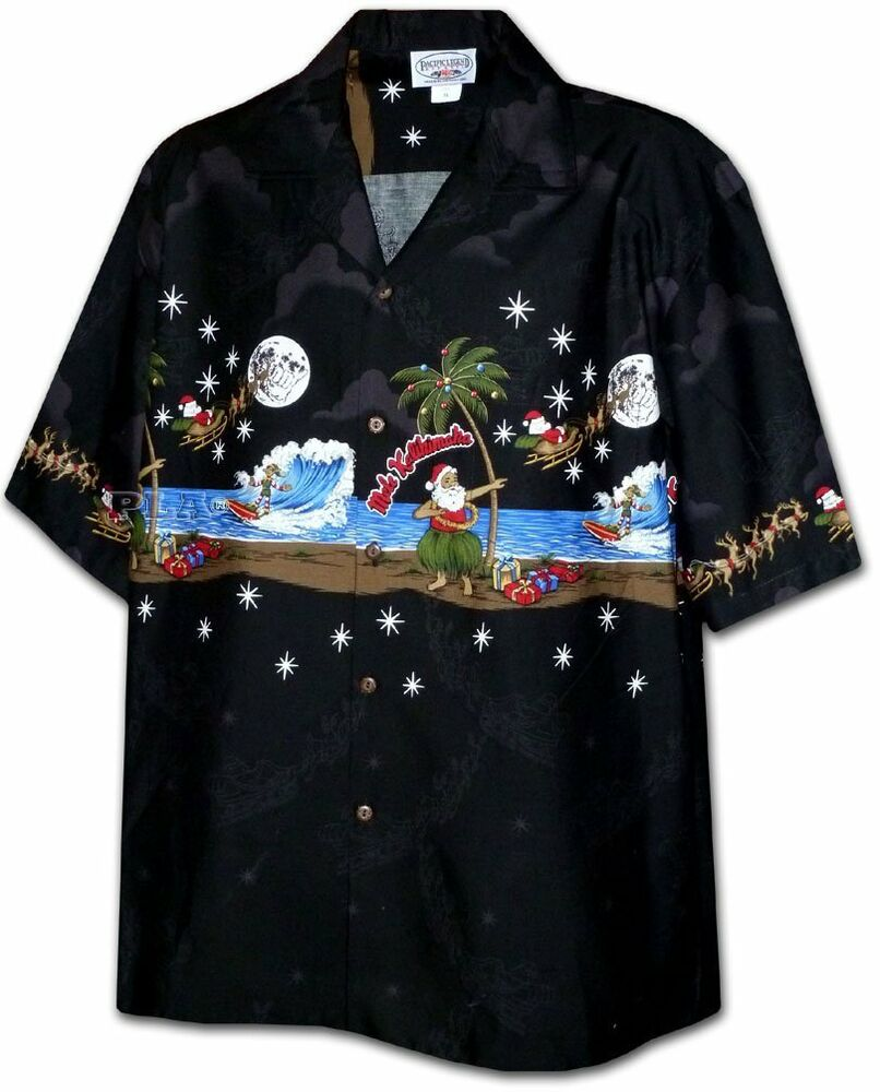 Beach Christmas Cards >> Santa Hula Mele Kalikimaka Christmas Hawaiian Shirt, Black | eBay