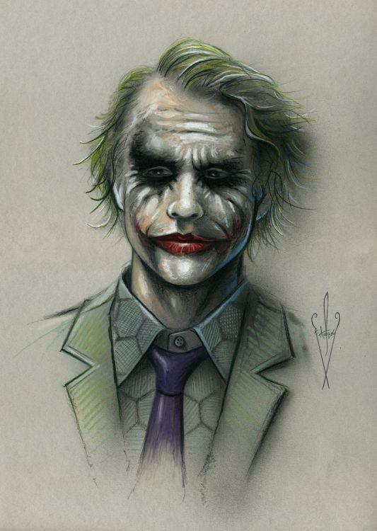 "JOKER Drawing 12 x 18 "" - Heath Ledger/Batman/The Dark ..."