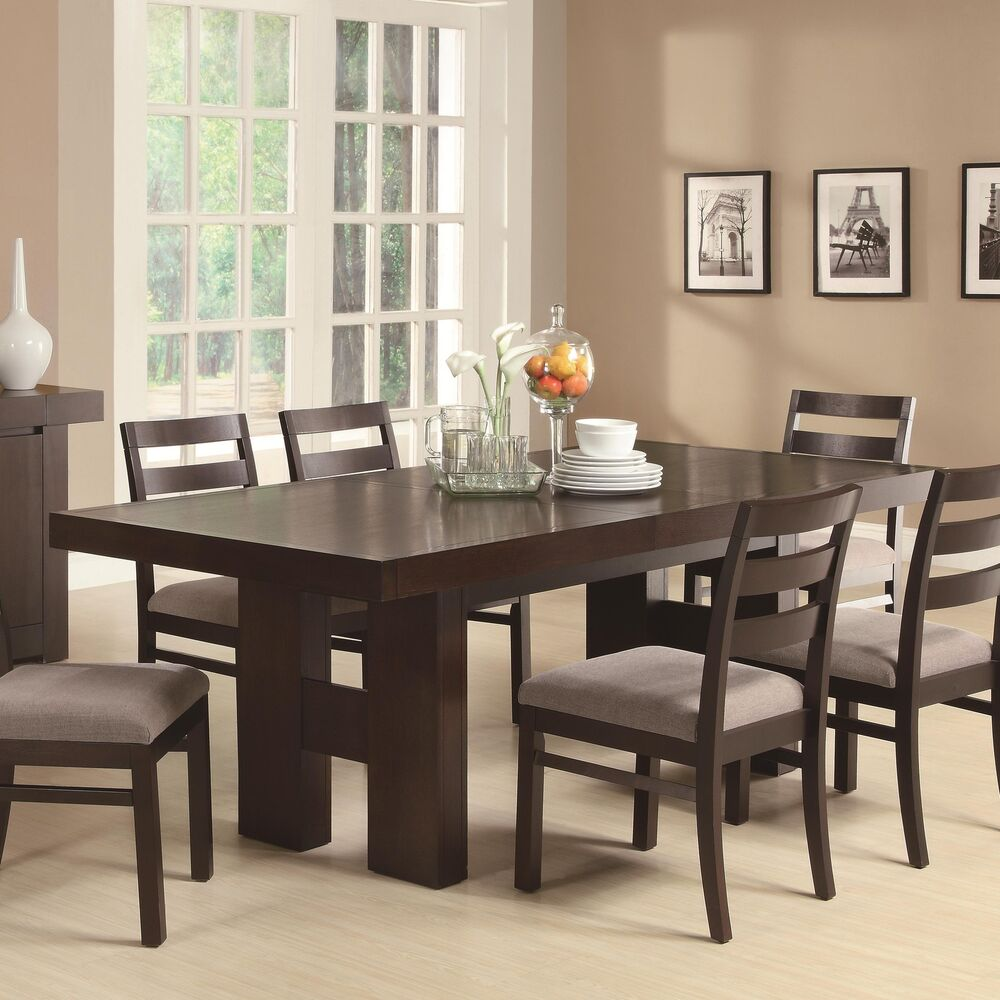 Casual contemporary dark wood dining table chairs dining for Wood dining table set