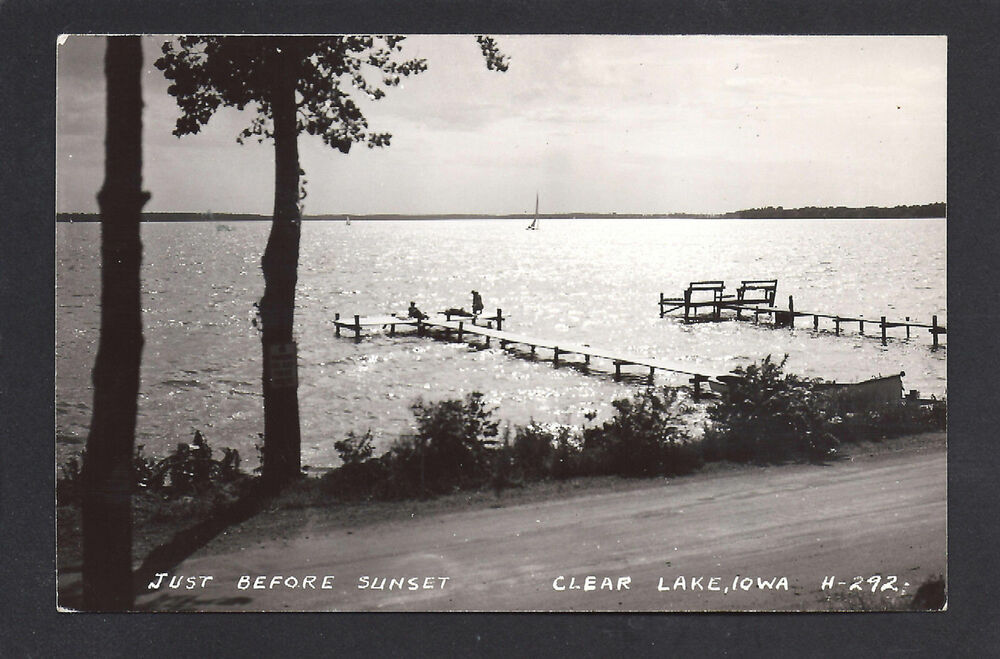Clear lake iowa ia c1939 rppc sailing just before sunset for Clear lake iowa fishing
