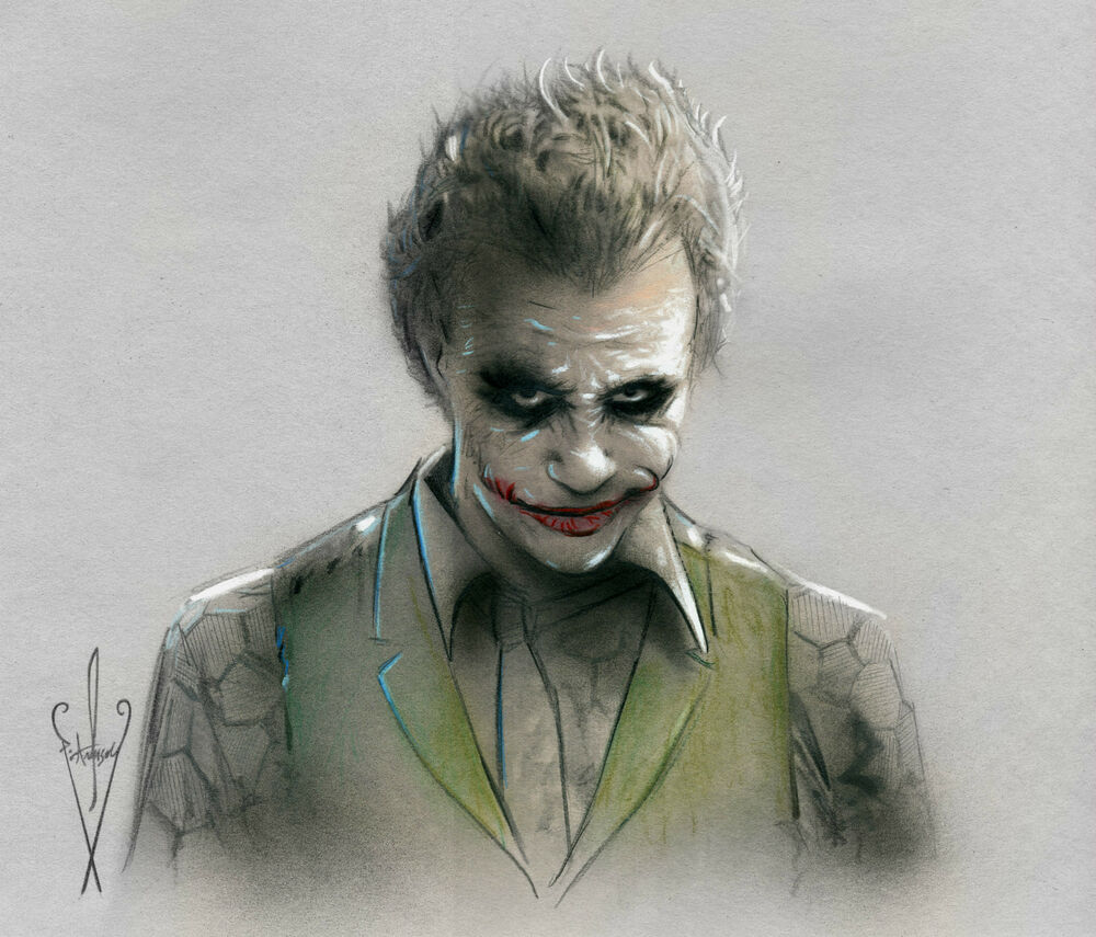 JOKER Drawing 12 x 18 Dark Knight/Batman Rises - Heath ...