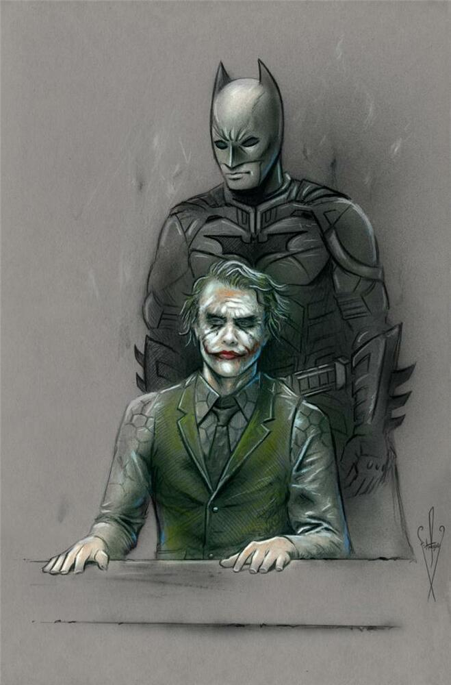 BATMAN & JOKER Drawing - 12 x 18 Artwork The Dark Knight ...