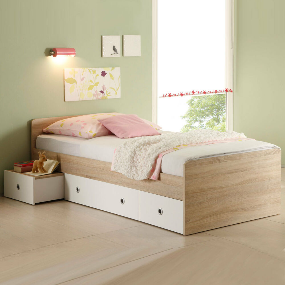 bett wiki kinderbett jugendzimmer in sonoma eiche s gerau 90x200 cm ebay. Black Bedroom Furniture Sets. Home Design Ideas