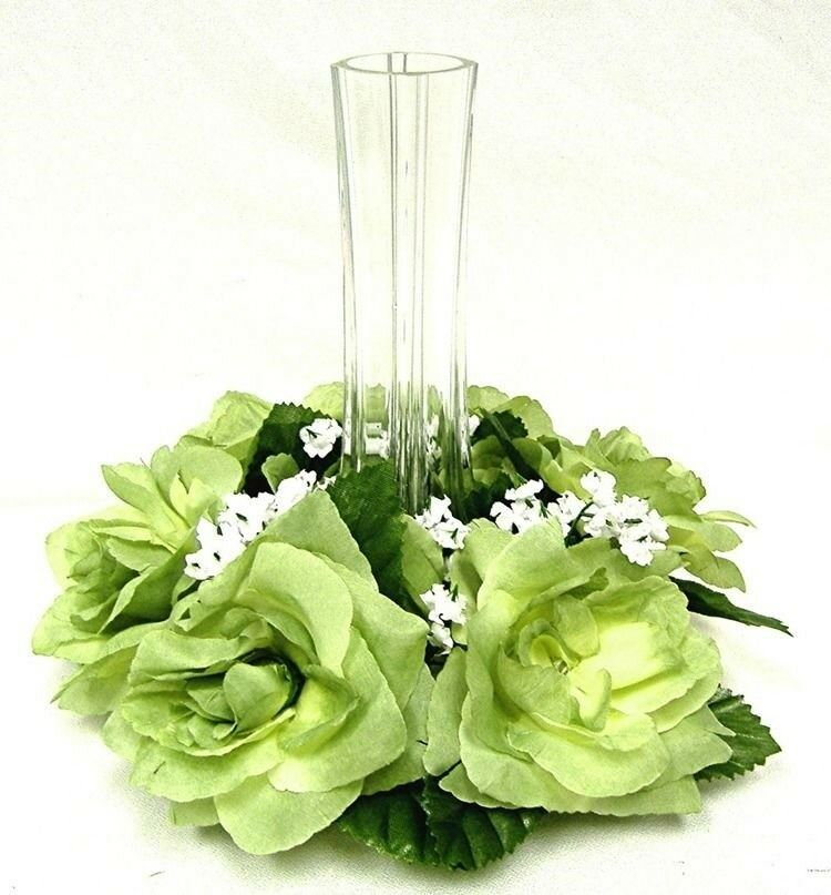 Flower And Candle Wedding Centerpieces: Roses Candle Ring GREEN Silk Wedding Flower Centerpiece