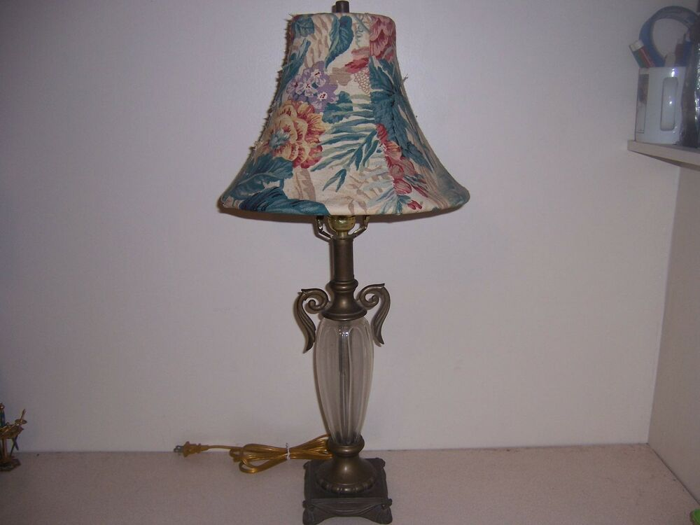 New Art Nouveau Style Brass Amp Glass Table Lamp Amp Floral