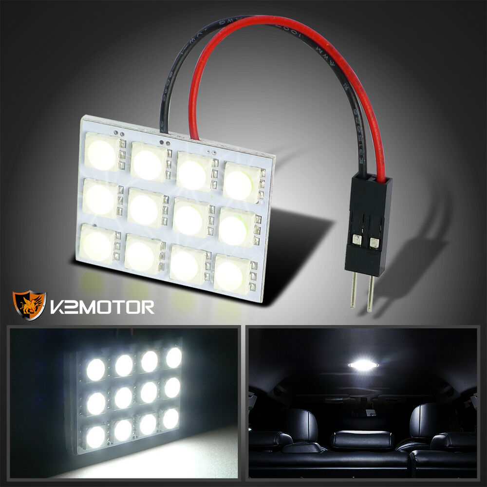12 smd 1210 white led dome light panel car interior t10 ba9s adapter ebay. Black Bedroom Furniture Sets. Home Design Ideas