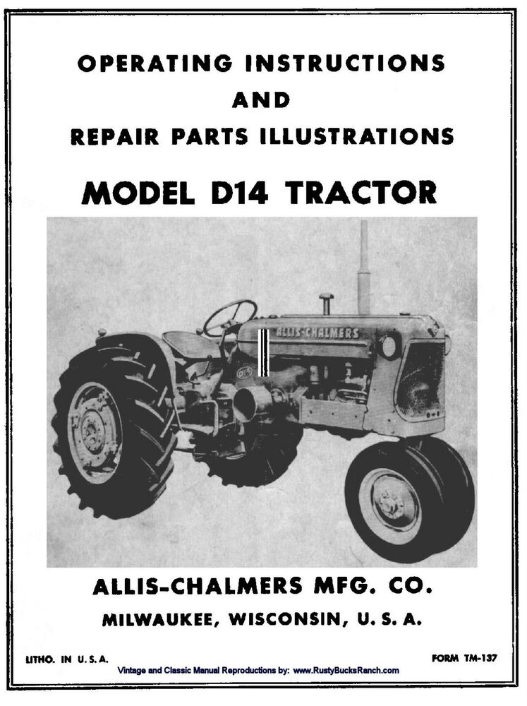 Ac Tractor Parts : Allis chalmers model d tractor owners operators and