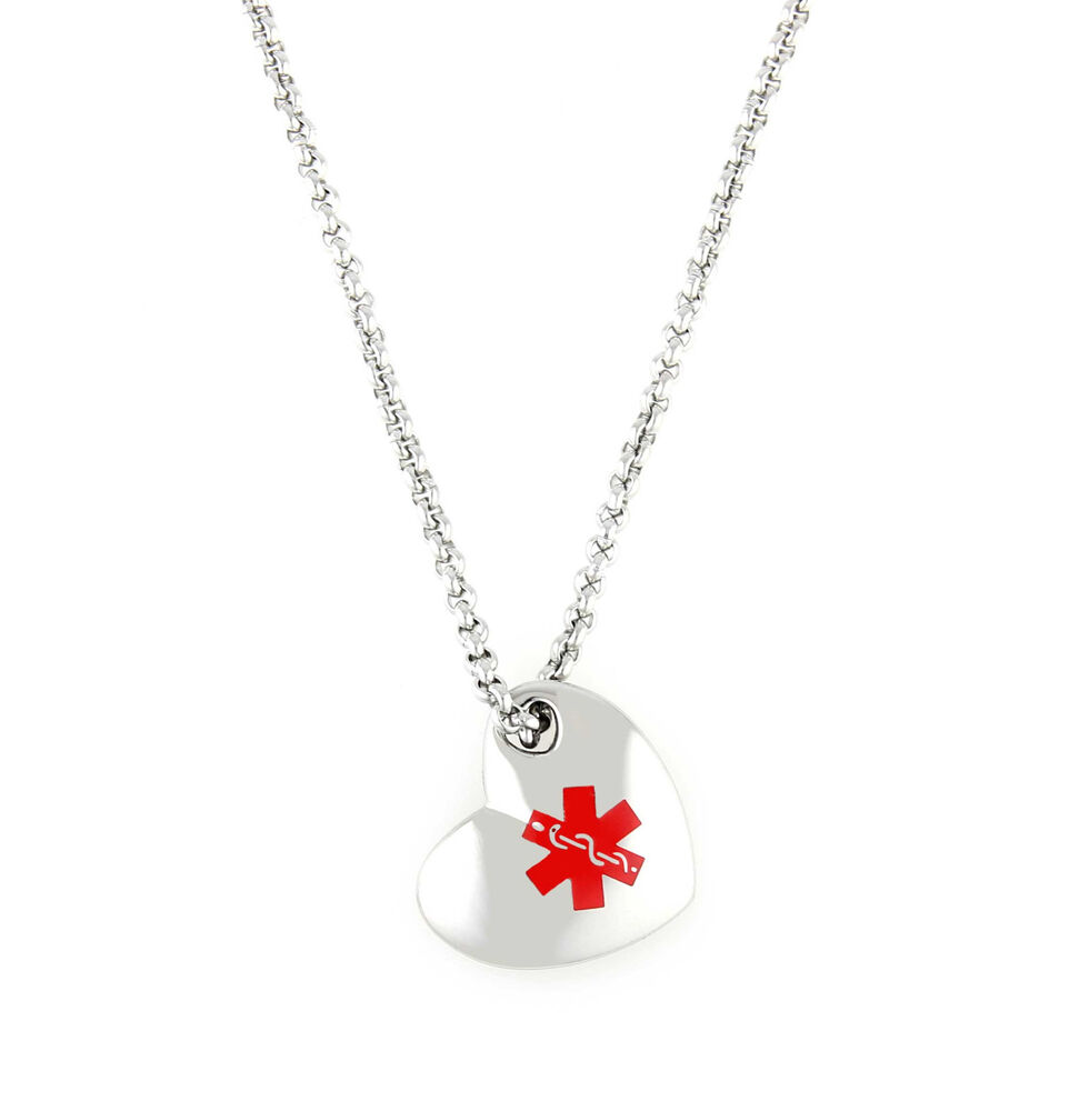 Medical Alert ID Stainless Heart Pendant Necklace