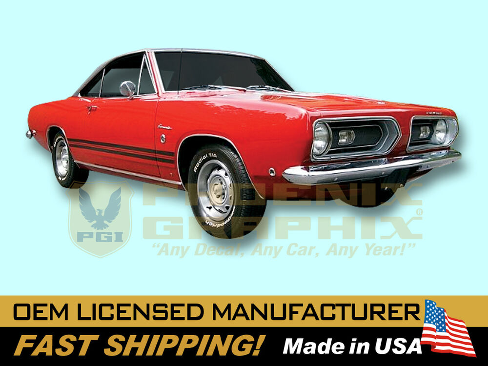 1967 1968 Plymouth Barracuda Decals Amp Lower Body Stripes