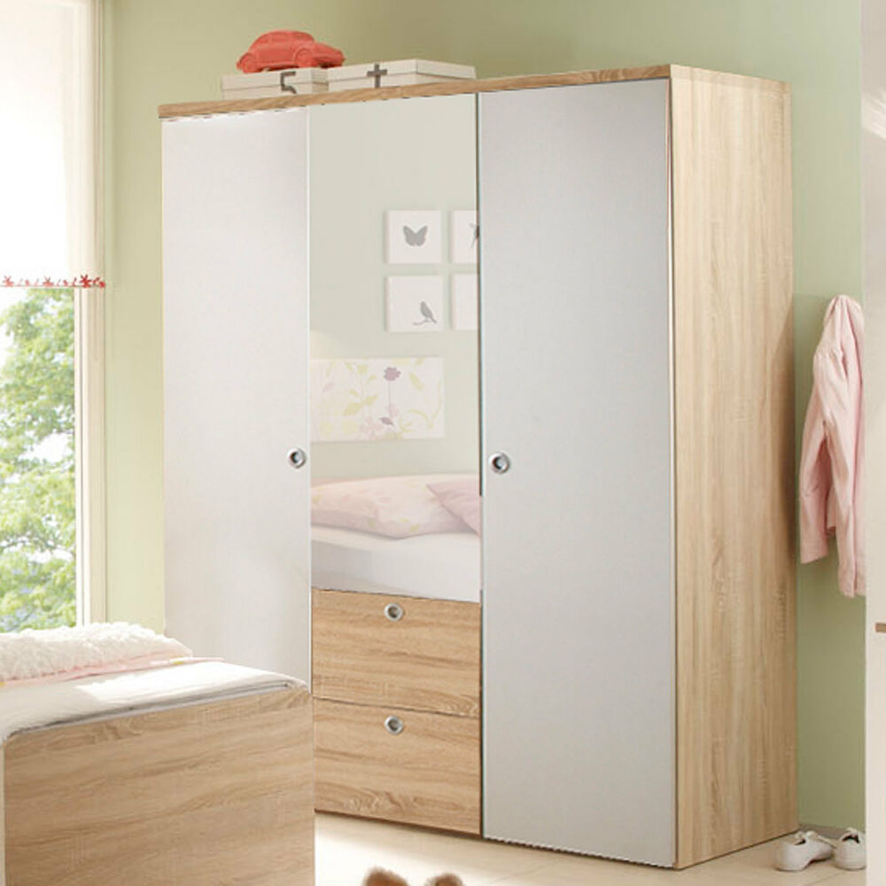 kleiderschrank wiki in eiche sonoma und wei babyzimmer schrank kinderzimmer ebay. Black Bedroom Furniture Sets. Home Design Ideas
