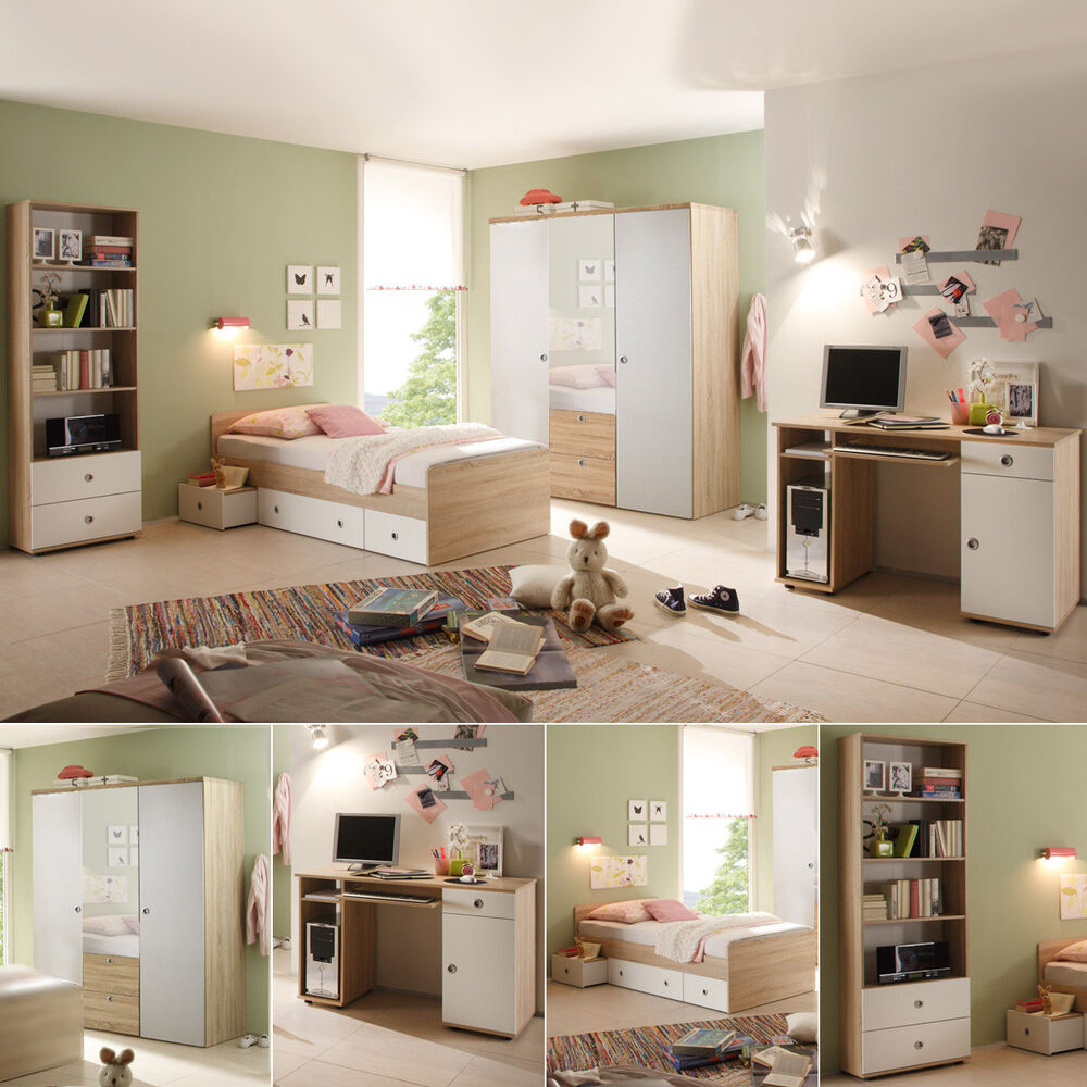 jugendzimmer wiki 7 teilig kinderzimmer in sonoma eiche und wei ebay. Black Bedroom Furniture Sets. Home Design Ideas
