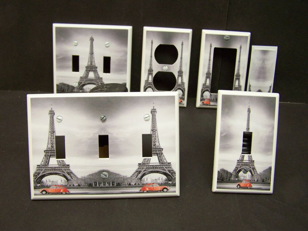 eiffel tower red car paris france light switch cover plate or outlet ebay. Black Bedroom Furniture Sets. Home Design Ideas