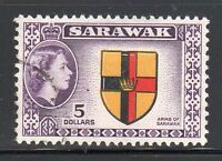 Sarawak SC# 211 Used, $5 dp violet, blk, red & ye from QE II Set Issued in1955/