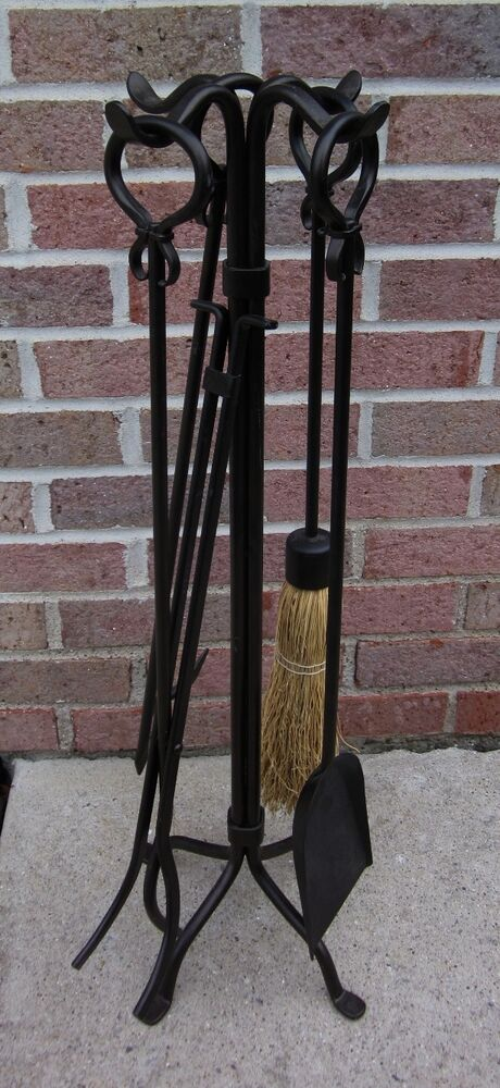 Vintage Dark Bronze Wrought Iron Fireplace Tool Set Ebay