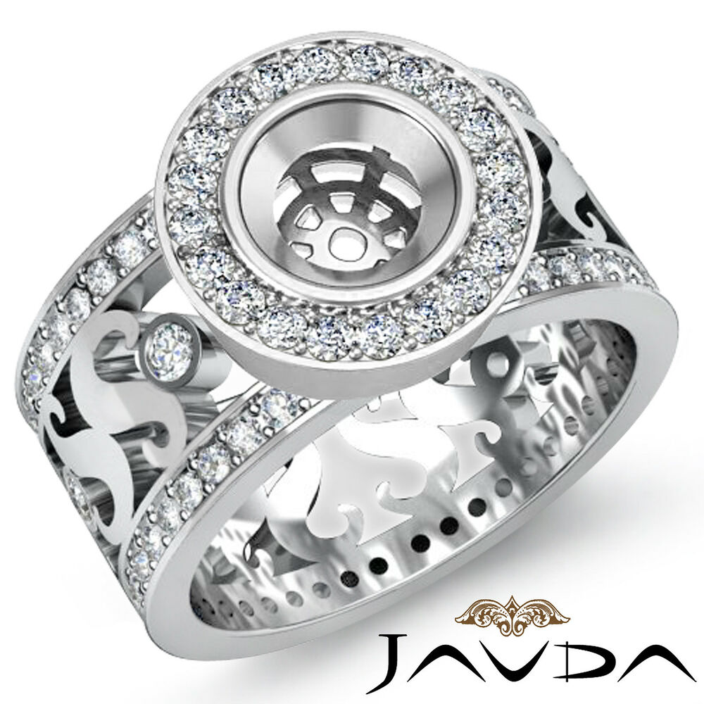 Round Halo Pave Set Engagement Ring