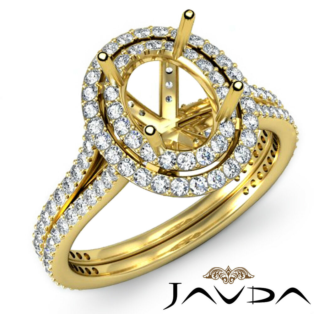 Diamond Engagement Pre Set Ring Oval Semi Mount 1 5C 14k Yellow Gold Split Sh