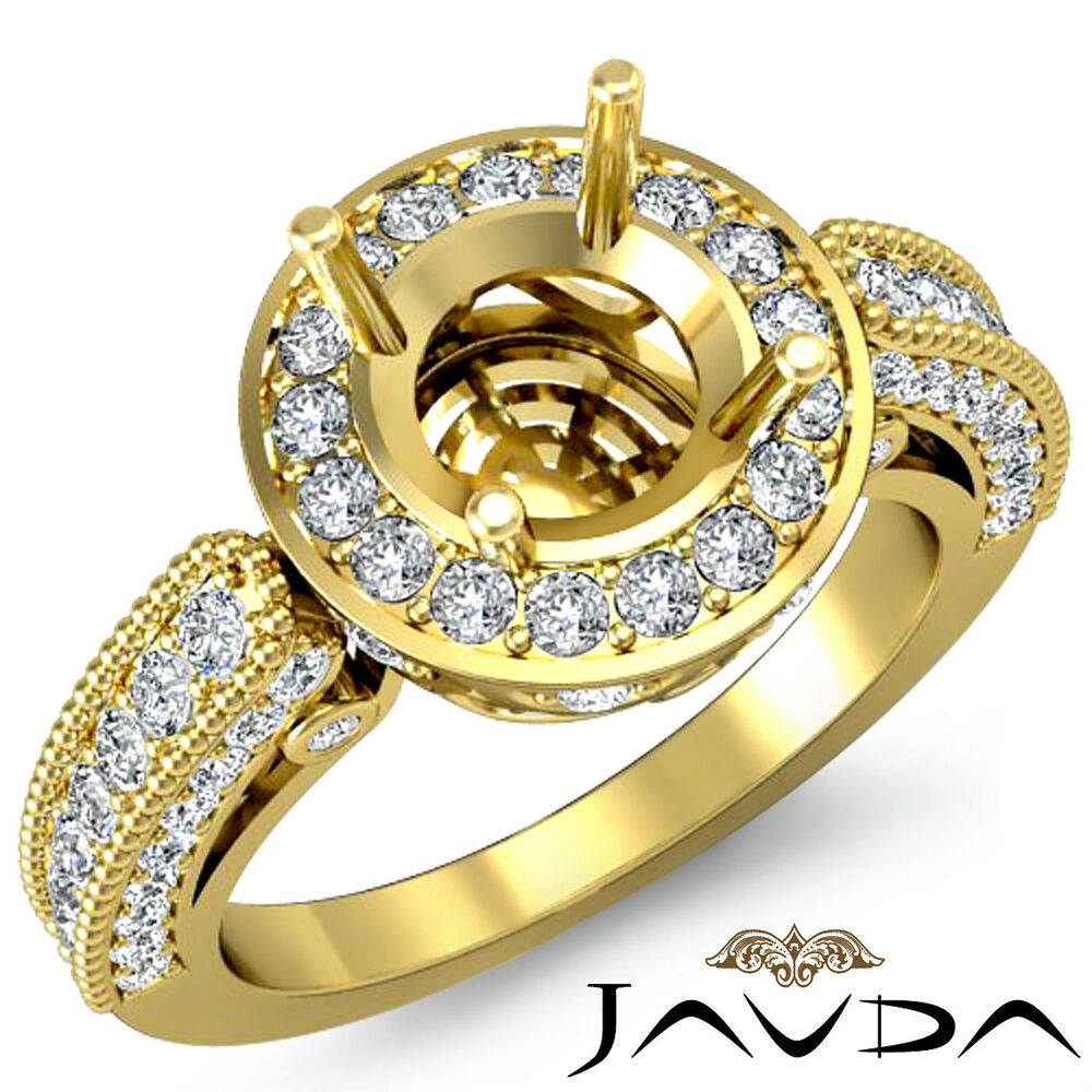 Diamond Engagement Halo Pave Milgrain Ring 1Ct 14k Yellow ...
