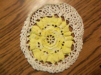 vintage yellow white handmade crochet cover potholder pot holder doily hot pad