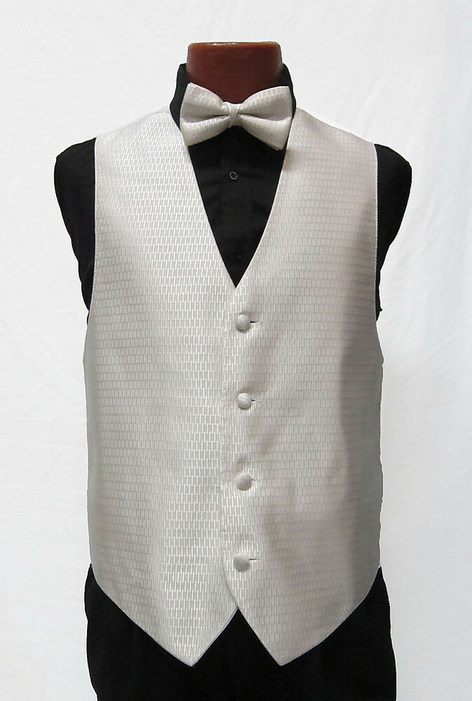 Mens cream ivory crystal tuxedo fullback vest tie for Mens ivory dress shirt wedding