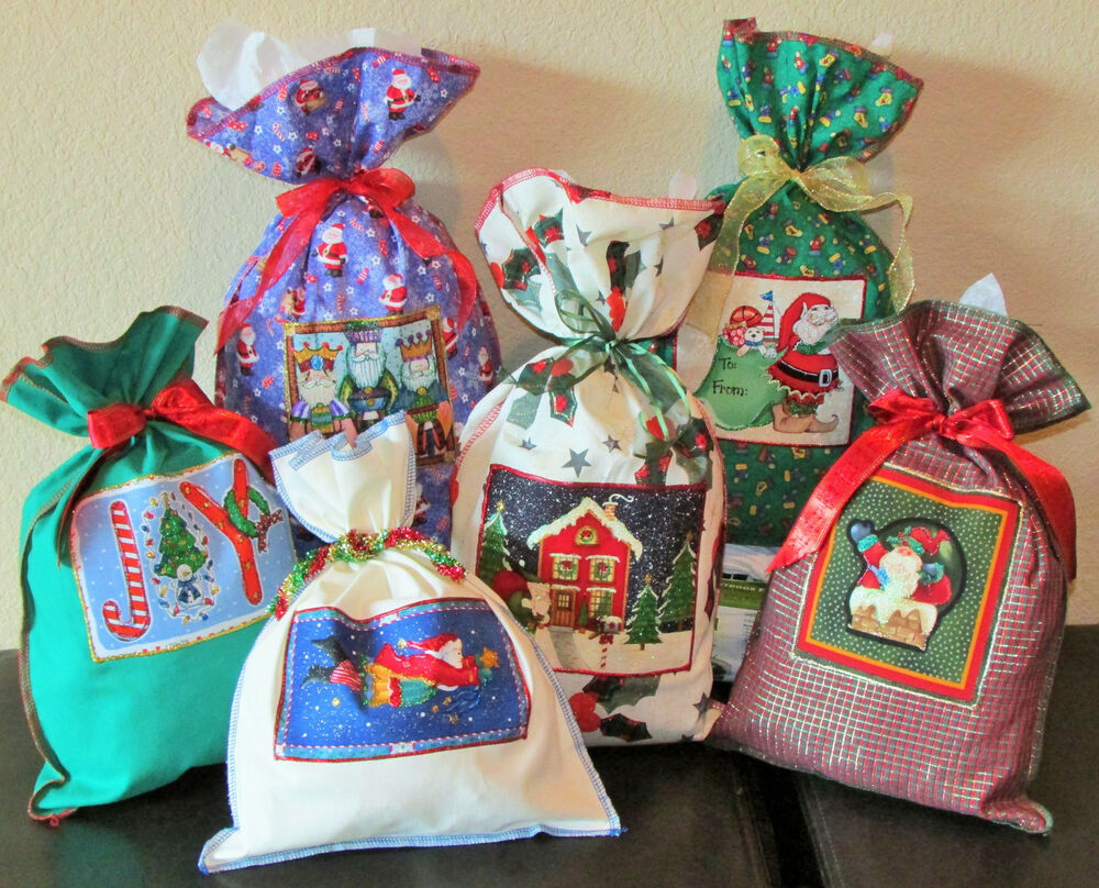 Christmas Fabric Gift Wrap Re-Usable Wrapping Bags 5 Large