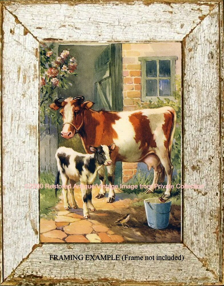 Country Ranch Farm Animals Mother Cow Amp Baby Calf Barn