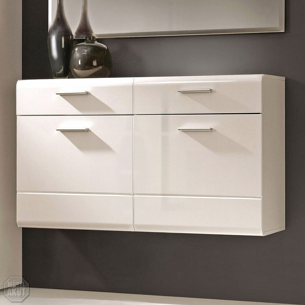 schuhschrank aveo schuhkommode flur schrank in wei hochglanz ebay. Black Bedroom Furniture Sets. Home Design Ideas