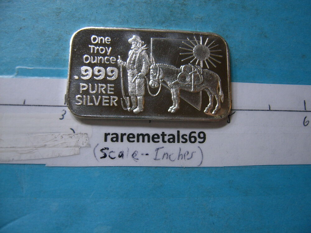 Miner Mule Nevada Silver State 999 Silver Bar Very Cool