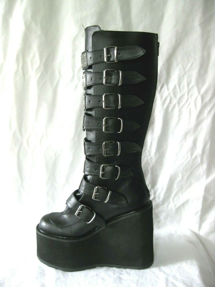"Demonia HUGE 5.5"" Black Platform Buckle Metal Plate Knee ..."