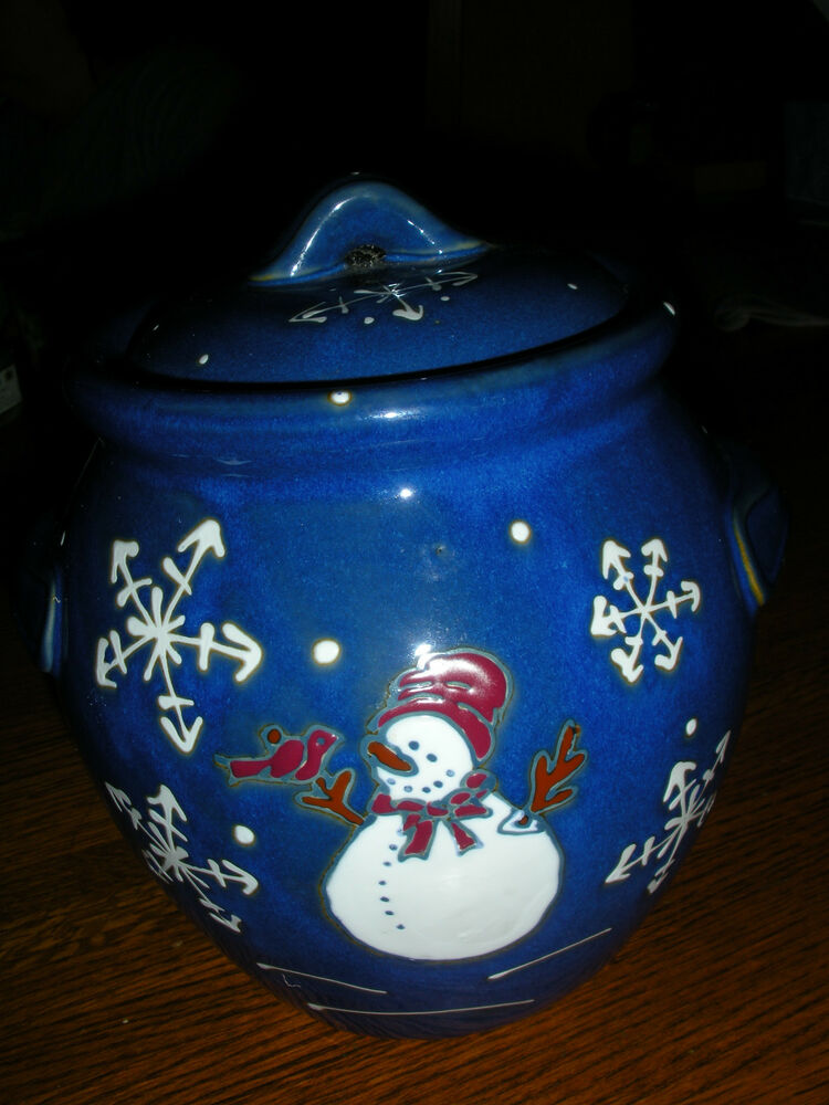 Snowman Pottery Cookie Jar Dark Blue With Large