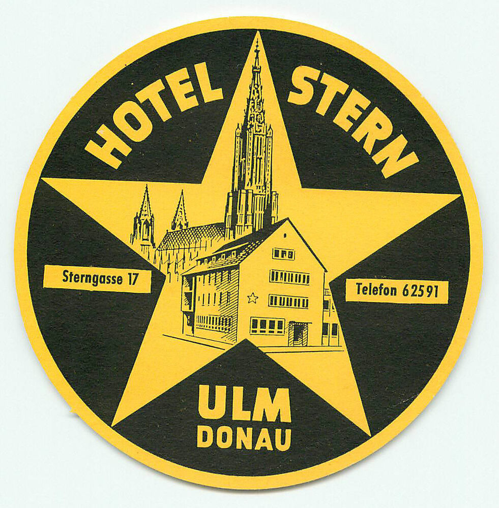 ulm donau germany hotel stern vintage luggage label ebay. Black Bedroom Furniture Sets. Home Design Ideas
