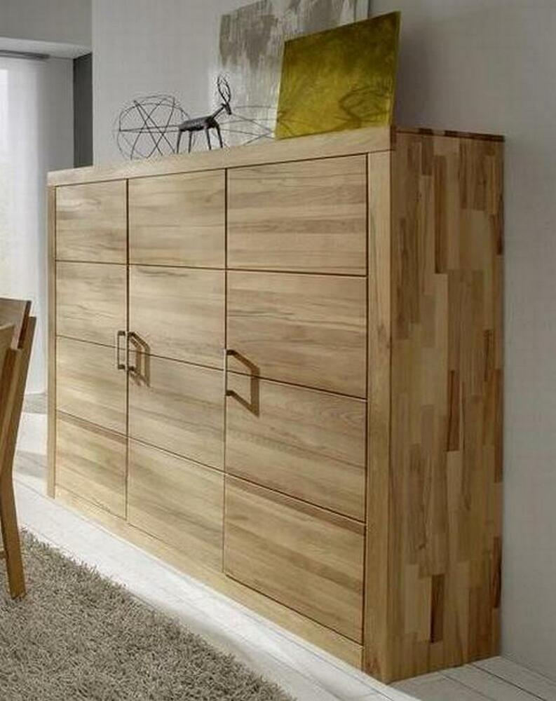 massivholz highboard wildeiche massiv ge lt wohnzimmerschrank kommode kernbuche ebay. Black Bedroom Furniture Sets. Home Design Ideas