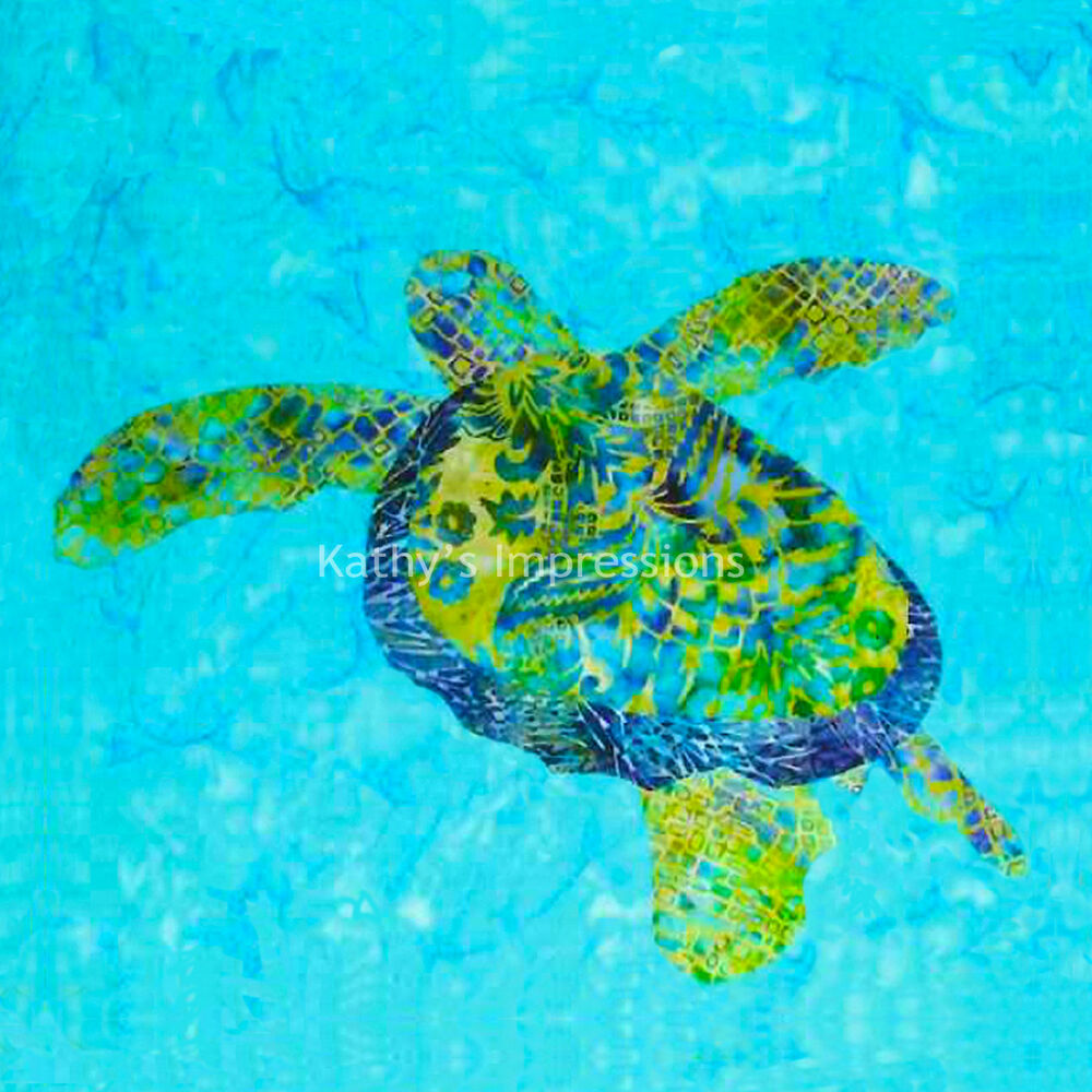Green Blue Sea Turtle Fabric Quilt Square Tropical Ocean