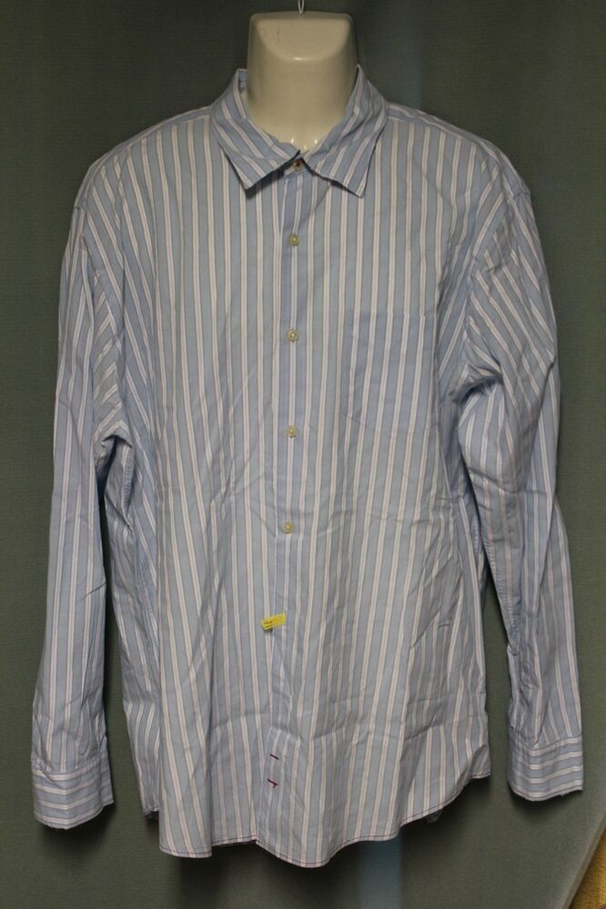 7 for all mankind mens light blue striped button down for Striped button down shirts for men