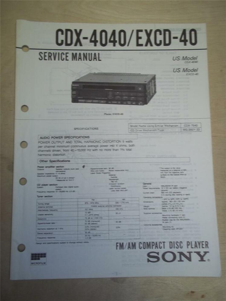 sony service manual~cdx-4040/excd-40 cd compact disc player/tuner~original  | ebay