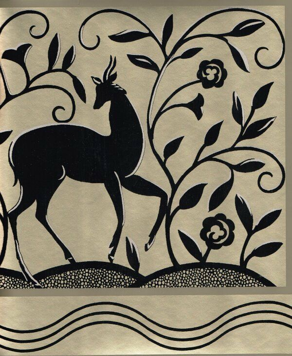 Art Deco Deer Frieze In Black Gold Wallpaper Border Ebay