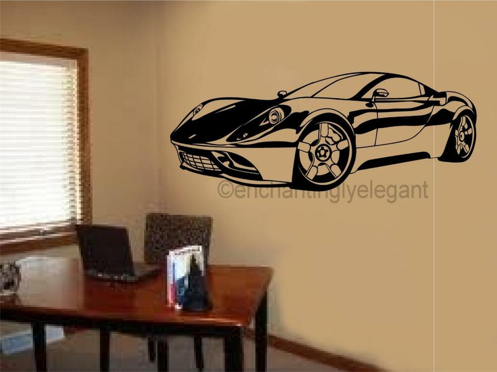 Sports car race car vinyl decal wall sticker garage office for Cars wall mural sticker