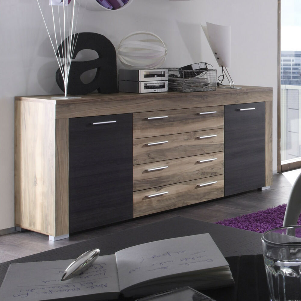 sideboard boom kommode in nussbaum satin und braun touchwood ebay. Black Bedroom Furniture Sets. Home Design Ideas