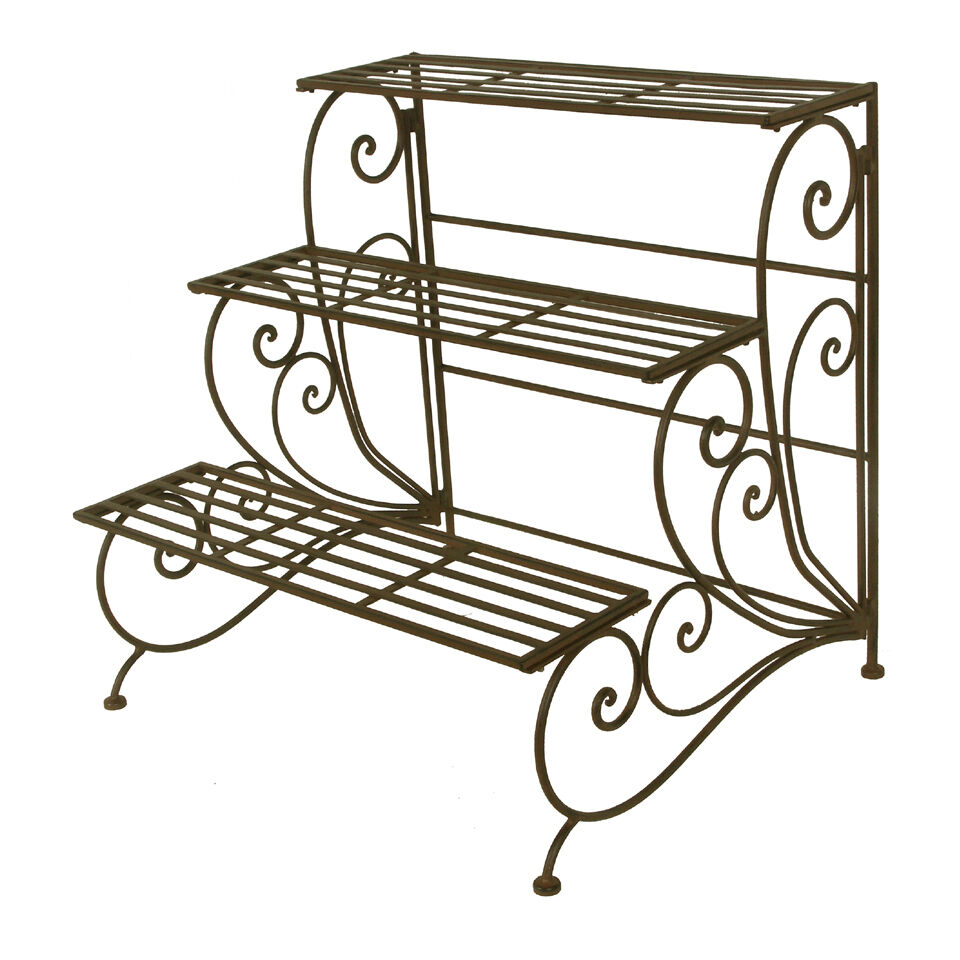 Wrought Iron 3 Shelf Plant Stand Staircase Design 3 Tiered