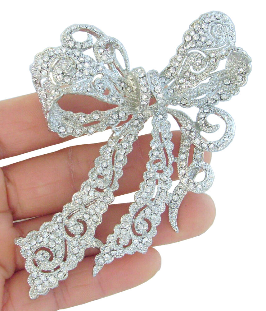 Chic 4 13 Quot Bridal Bowknot Brooch Pin Pendant Clear
