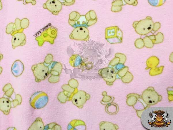 Fleece fabric printed baby bear pink fabric 58 w for Children s flannel fabric by the yard