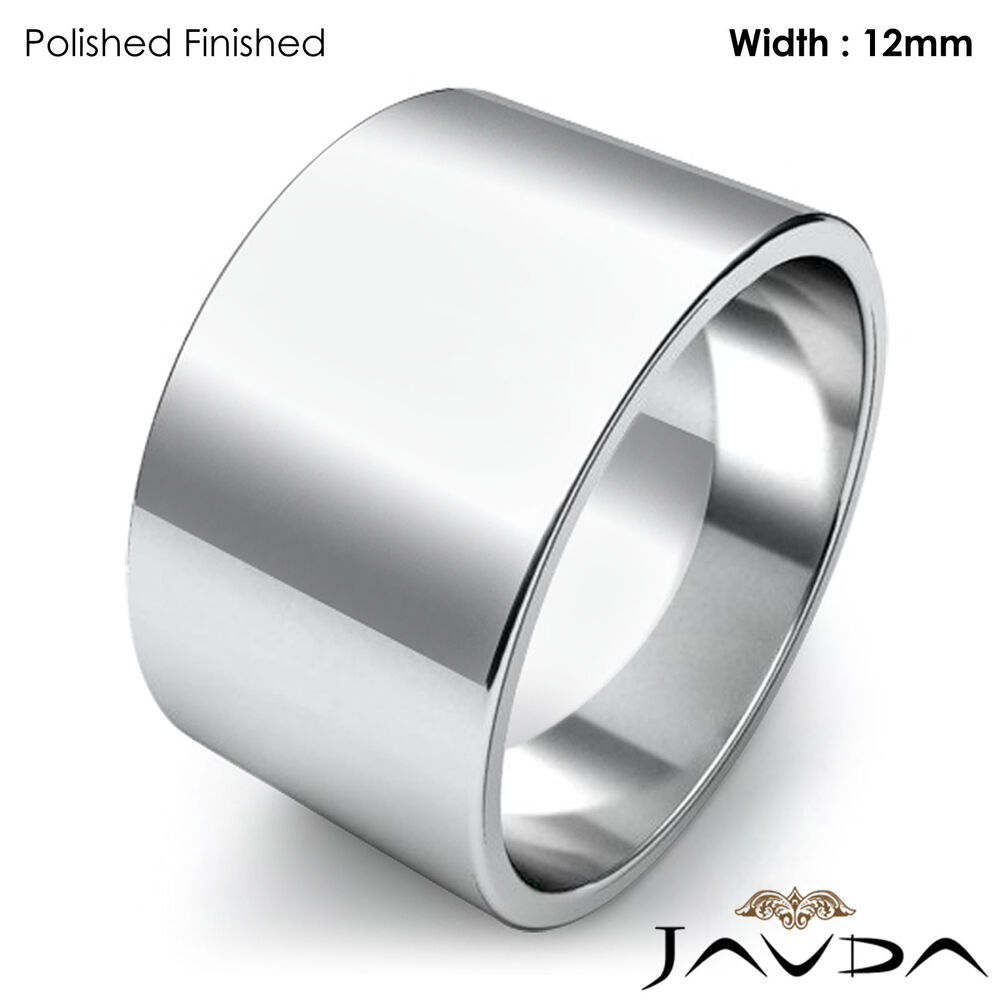 Wedding Band Women Plain Flat Pipe Cut Ring 12mm 14k White ...