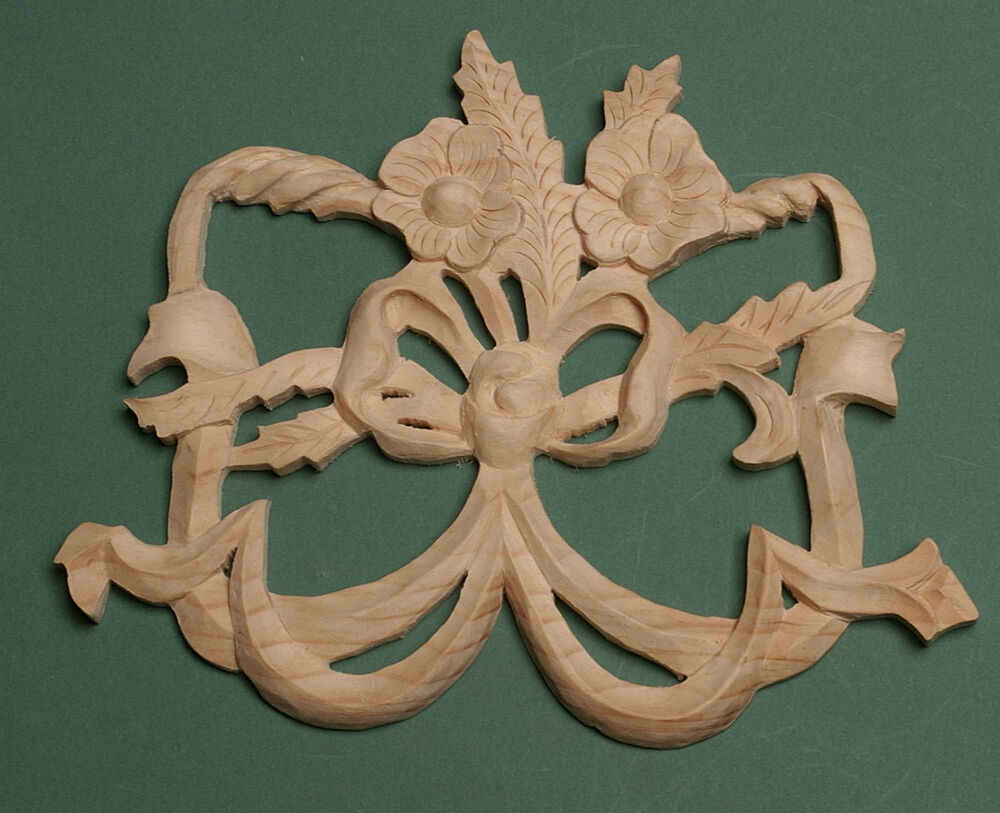 Decorative Hand Carved Pine  Wooden Flower /& Bow centre piece 456