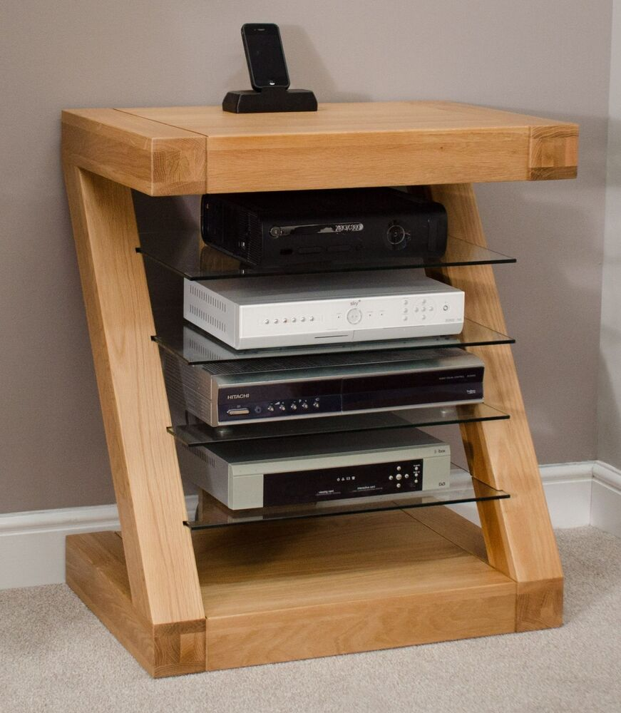 zaria solid oak designer furniture hi fi cabinet dvd console storage unit ebay. Black Bedroom Furniture Sets. Home Design Ideas