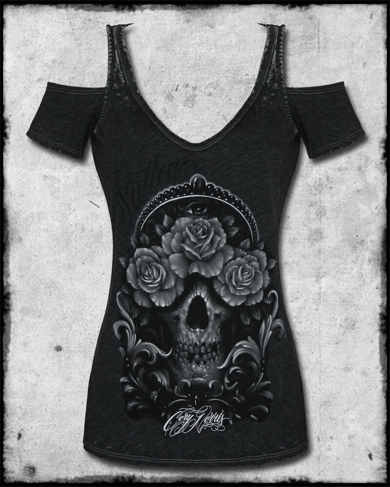 Sullen angels cory norris skull rose tattoo cutout sleeve for Tattoo sleeve shirts for women