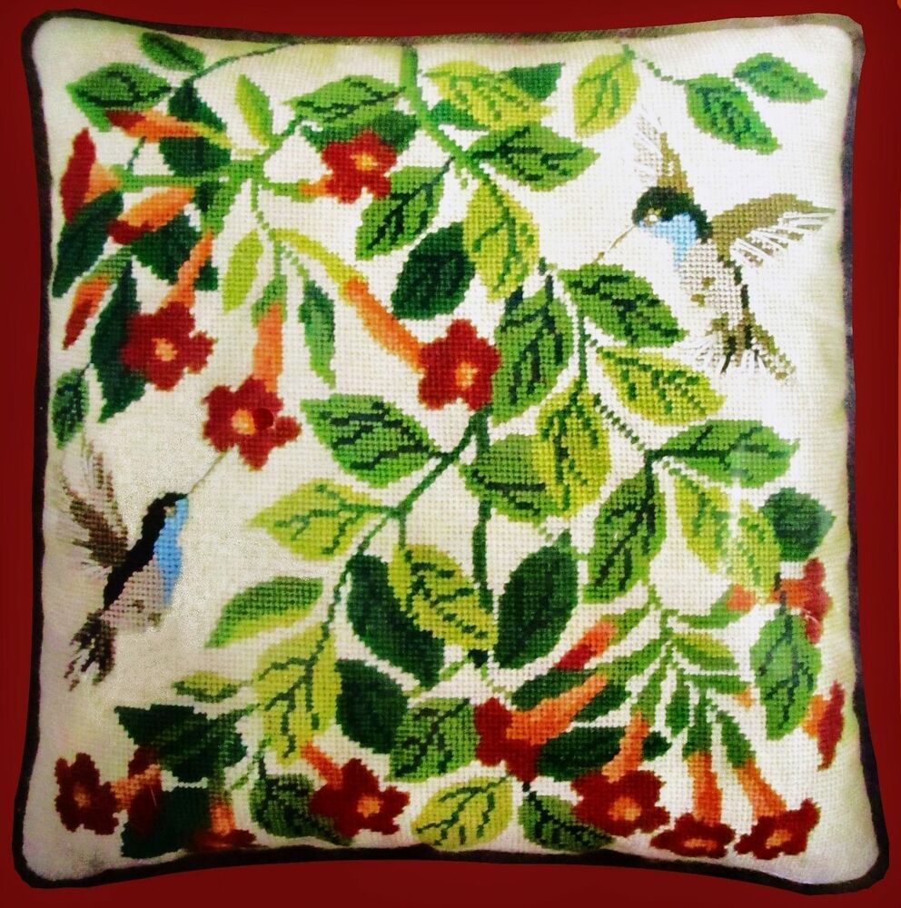 *VERY VINTAGE NEEDLEPOINT* BUCILLA * HUMMINGBIRDS * HANDPAINTED Pillow Kit WOOL eBay