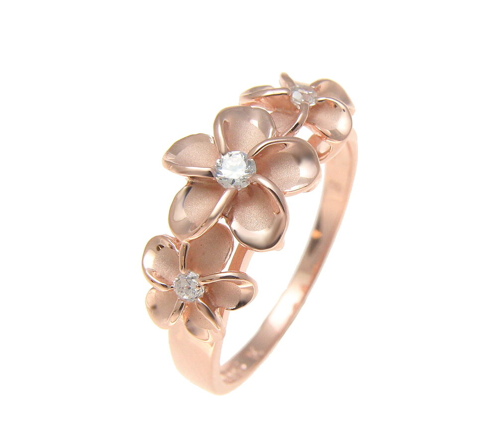 Pink rose gold plated sterling silver 925 hawaiian 3 plumeria flower pink rose gold plated sterling silver 925 hawaiian 3 plumeria flower ring cz ebay izmirmasajfo