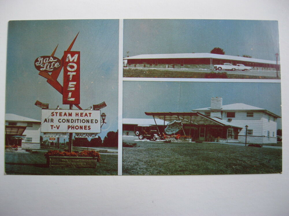 "1950's GAS LITE MOTEL, LAWRENCEVILLE, ILLINOIS 6 1/2"" LONG ..."